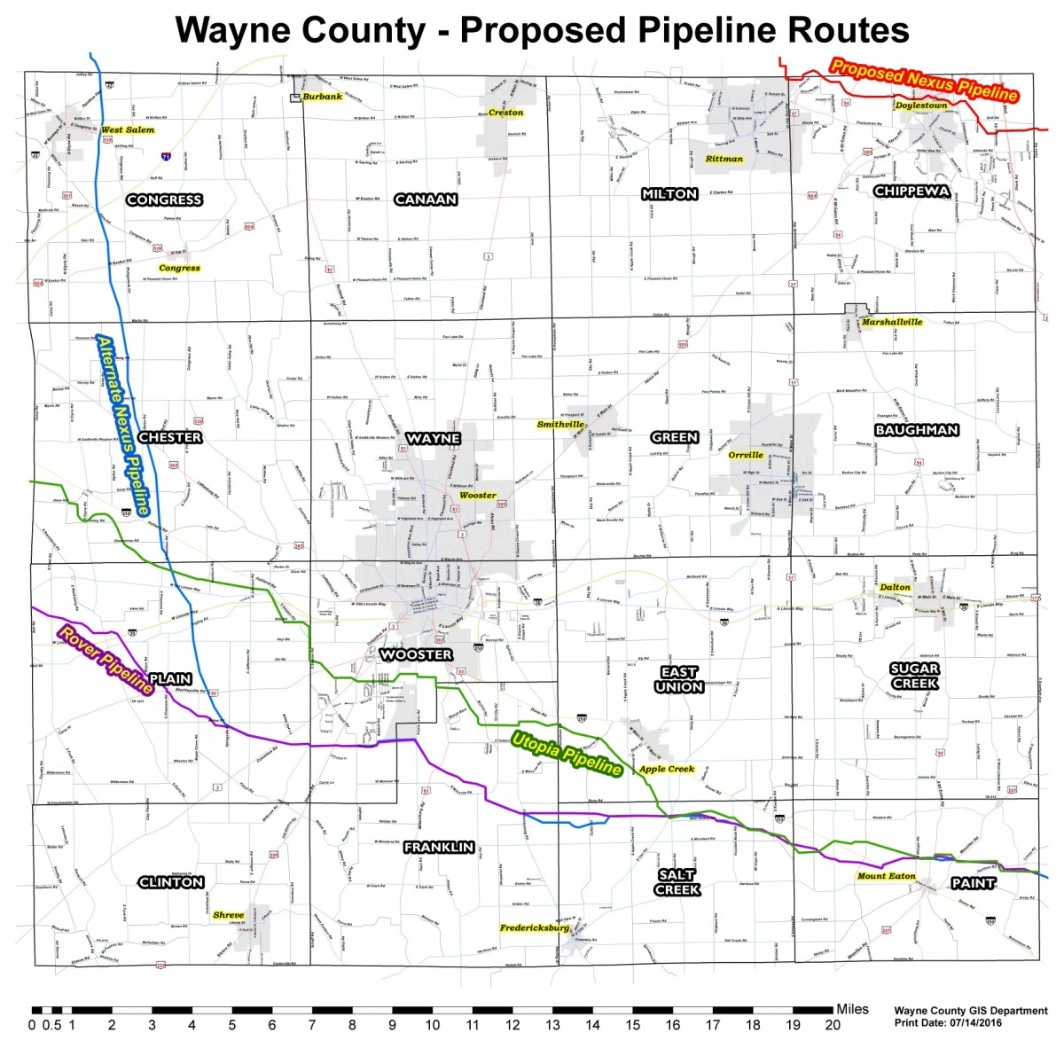 Wayne County Proposed Pipeline Routes