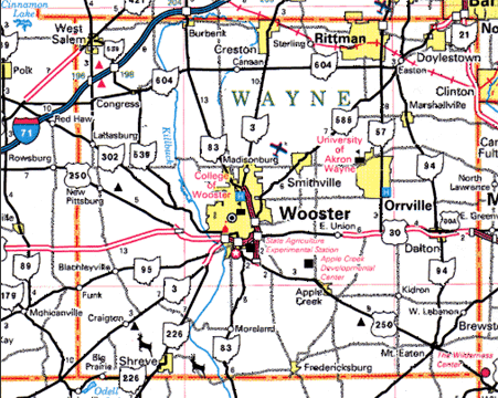 Map of Wayne County Ohio