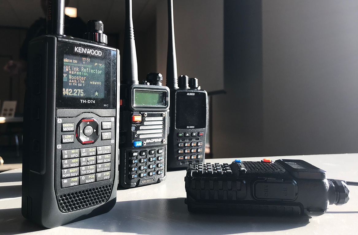 Amateur radios on table
