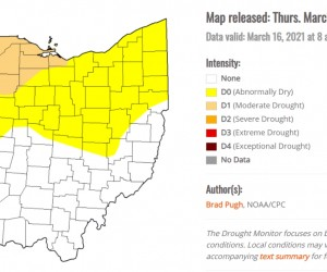 State of Ohio map showing drought conditions