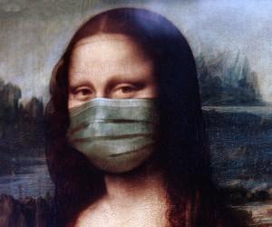 Mona Lisa wearing a medical mask