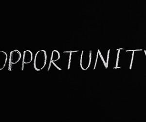 The word opportunity written on a chalkboard