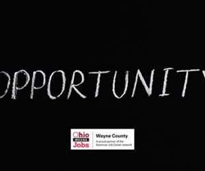 The word Opportunity written on a chalkboard with the Ohio Means Jobs logo