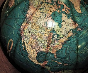 A globe showing the USA