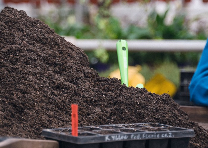 Pile of compost on a table ready for use