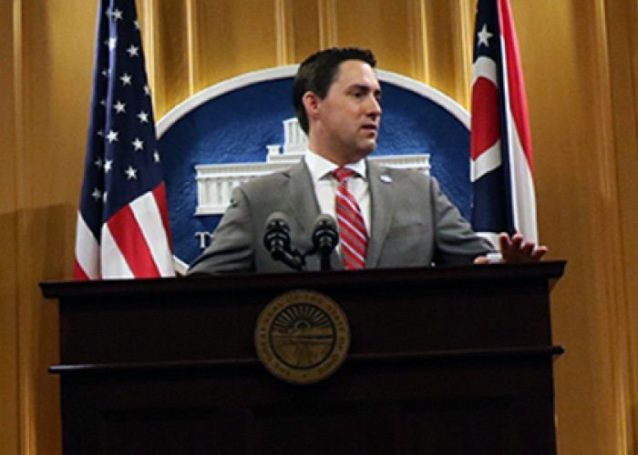 Ohio Secretary of State Frank LaRose at podium