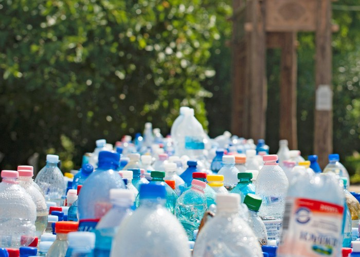 Pile of plastic bottles to be recycled